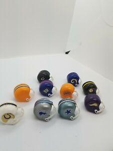 Lot-10-AFC-NFC-Vintage-NFL-Mini-Football-Helmets-Set
