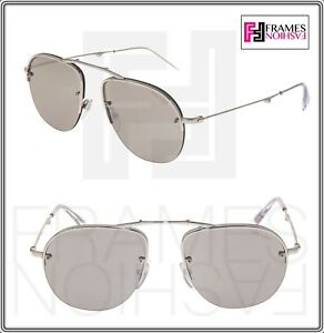 ab18959d3 Image is loading PRADA-TEDDY-PR54US-Foldable-Aviator-Silver-Mirrored-Rimless -