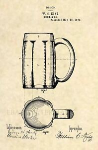 Official Beer Stein US Patent Art Print Vintage Antique Alcohol Bar Art 157
