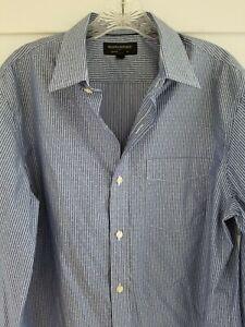 Banana-Republic-Sz-Medium-M-No-Iron-Blue-Button-Front-Long-Sleeve-Striped-Shirt