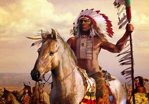 Native American Indian War Chief Warrior Tribal Horse ...