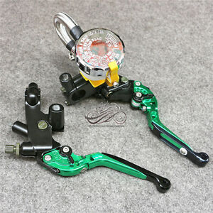 7/8'' Clutch Brake Levers Master Cylinder Reservoir Set For Kawasaki Motorcycle