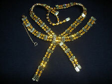 Vintage Kramer Lime Lemon Yellow Amber Rhinestone Bow Tie Necklace Bracelet Set