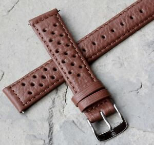 Honey-tan-18mm-stitched-textured-leather-rally-watch-strap-takes-a-16mm-buckle