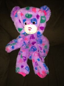 """BABW Build A Bear 14/"""" Lt Blue Peace Signs Bear with Pink Nose Unstuffed Plush"""