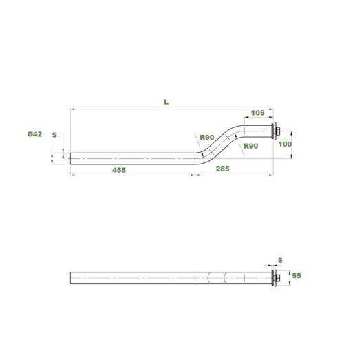 Kotflügel Tragrohr Halter Ø42 mm 750 mm LKW Anhänger NFZ gekröpft 1244121130