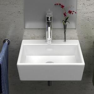 Details Zu Eckig Weiß Klein Gäste Wc Waschbecken Waschtisch Aufsatzbecken Wandmontage 33cm