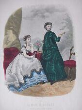 GRAVURE MODE 19e - MODE ILLUSTREE - TOILETTES BREANT 1867 - GRAND FORMAT