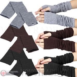 Womens-Ladies-Winter-Wrist-Arm-Hand-Warmer-Knitted-Long-Fingerless-Gloves-Mitten