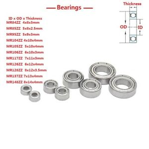 , 683zz,3mm x 7mm x 3mm Generic Double Shielded Miniature Deep Groove Ball Bearing Pack of 10