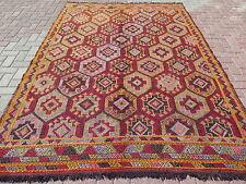 """Vintage Turkish Rug For Sale,Embroidered Kilim 75,9""""x111"""" Area Rug,Kelim,Carpet"""