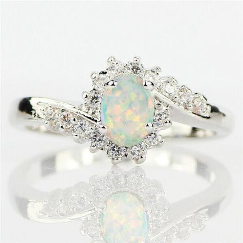 Femmes Belle Blanc Opale de feu argent 925 Mariage Bague de Fiançailles Cadeau Muse