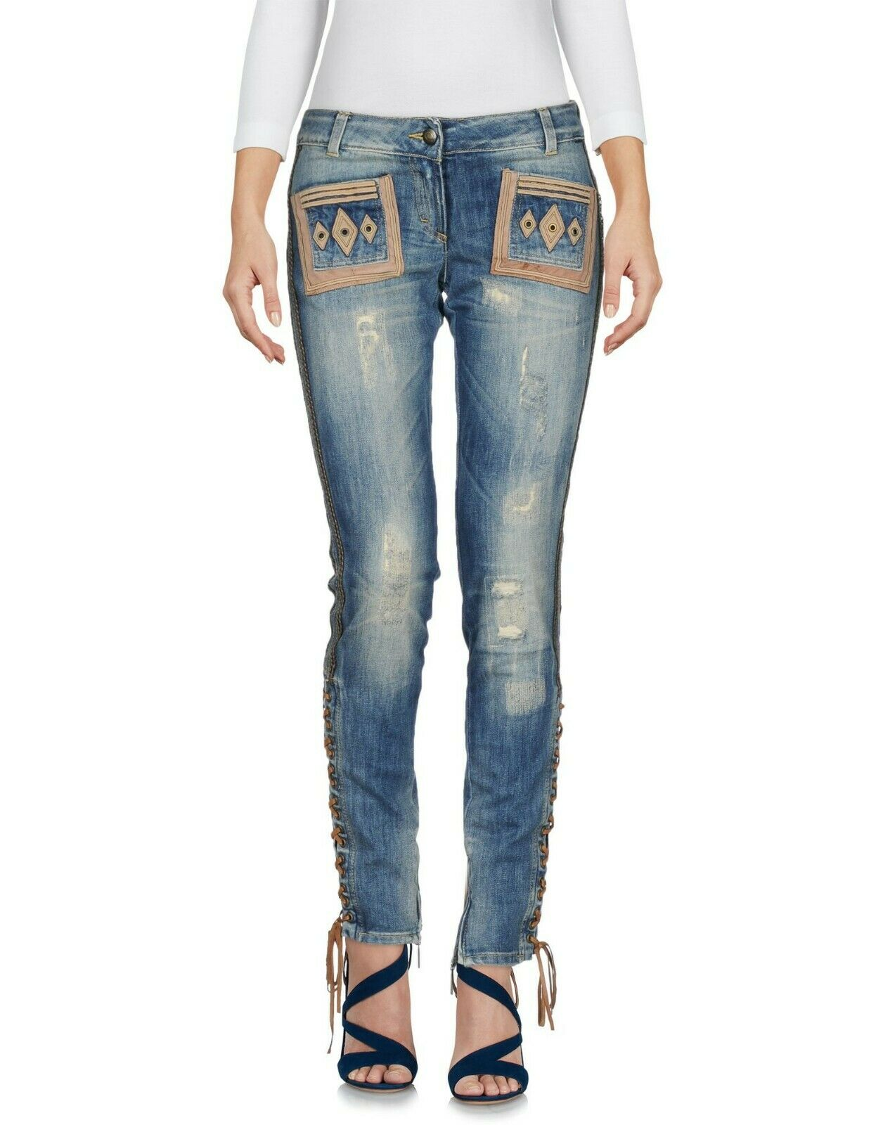 16a0b631d5e99 NWT JUST CAVALLI leather lace up jeans denim pants 29 M sz trim ...