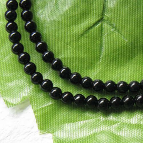 100 Stück 4mm schwarz Achat Runde Edelstein lose Perlen