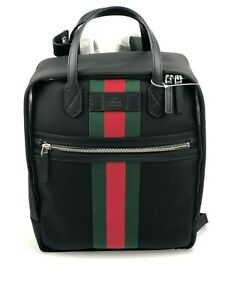 f2664f406dc New Gucci 495558 Black Techno Canvas with Gucci Web Stripe Satchel ...