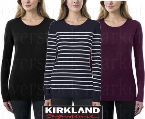 VARIETY! NEW WOMEN/'S KIRKLAND SIGNATURE CREWNECK SWEATER RIB KNIT STRETCH