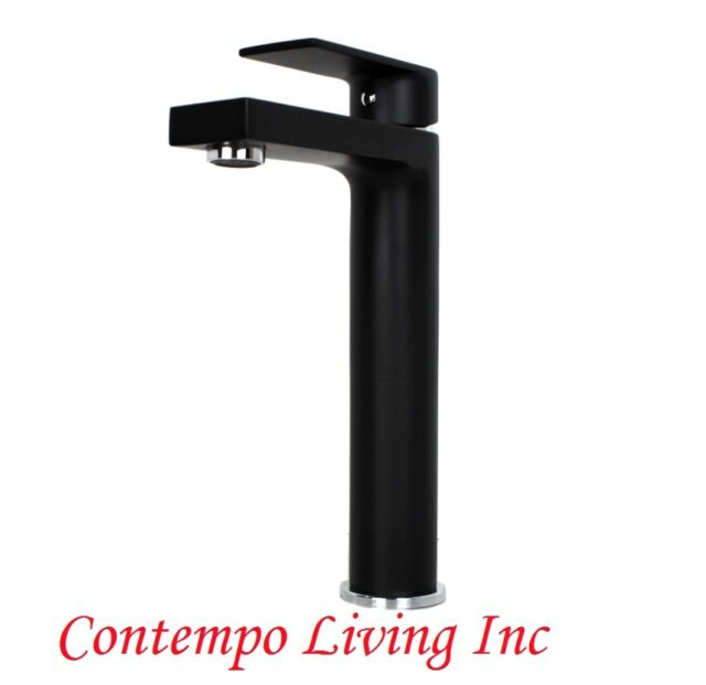 Contemporary Modern Chrome Matte Black Finish Solid Brass Bathroom Vanity  Faucet