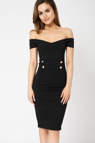 Ladies Party Formal Sleeveless Black Stretchy Off Shoulder Womens Bodycon Dress