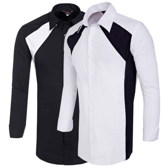 Black White Mens slim fit Casual Business Shirts Long sleeve Cotton dress Shirts