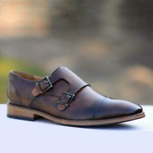 Men-039-s-Handmade-double-Monkstrap-ANTIQUE-MARRON-CUIR-VEAU-formelle-Parti-Chaussures
