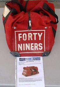 San Francisco 49ers Team Bag, 1950s. Used by Hugh McElHenny.  With COA.