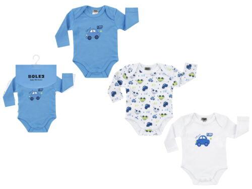 Boley Baby 3er Pack Jungen Body langarm Gr.62-92 Strampler Bodies blau neu