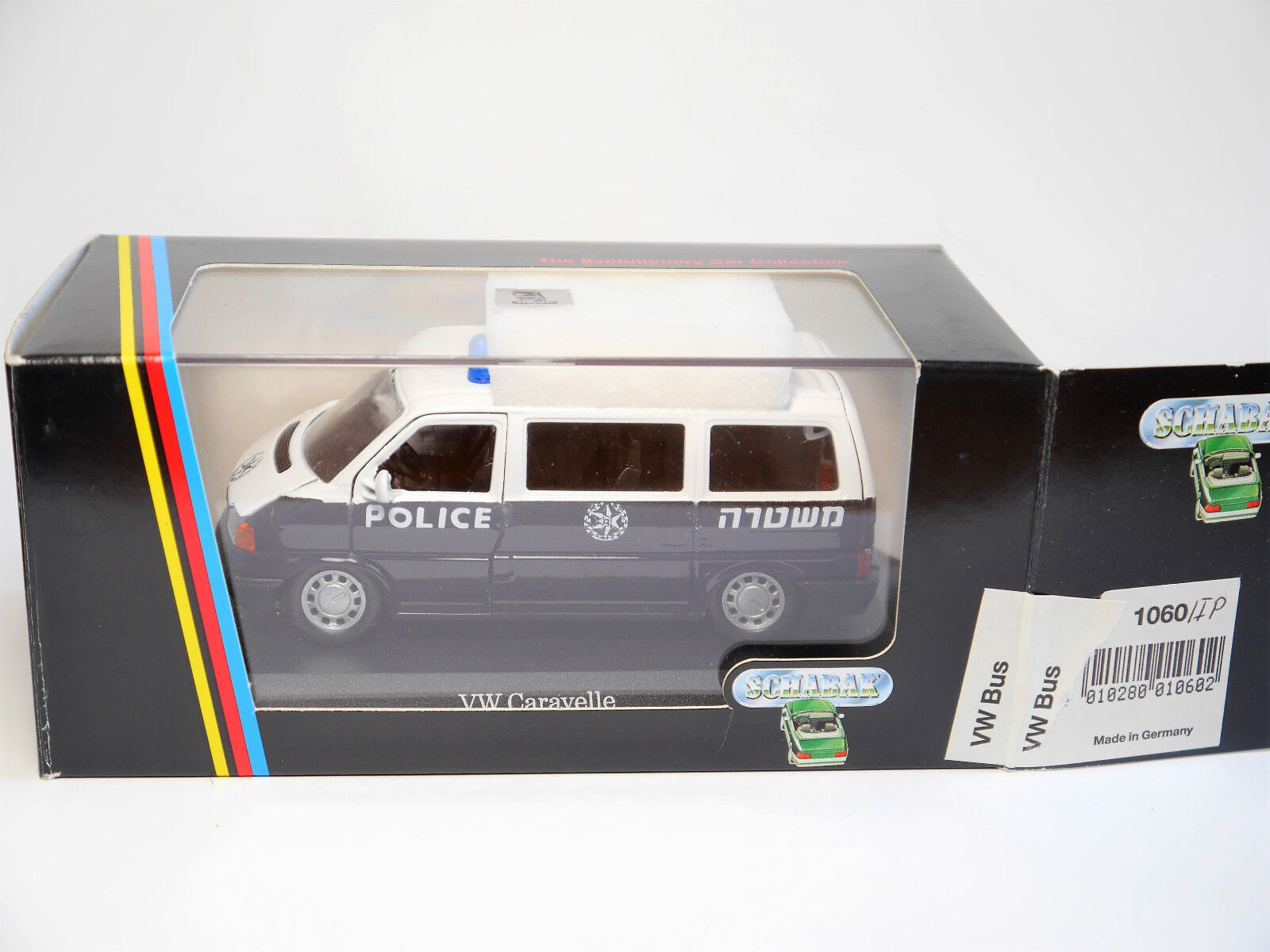 VW t4 Bus Caravelle  Police Israel  Police Polisi polis, Schabak in 1 43 Boxed
