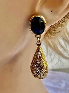 Boucles  d'oreilles  pendantes  a clip en MÉTAL Doré   ,VINTAGE N°809