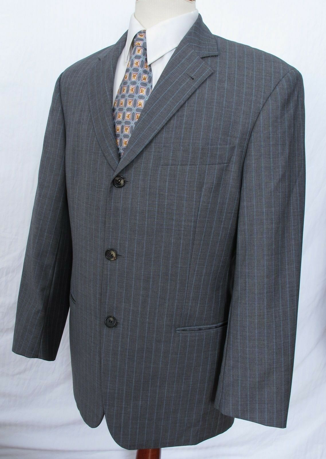 Hugo Boss Suit grau Pinstripe GALILEI 38S 32 x 27 3/4 Pants Wool Perfect LHM