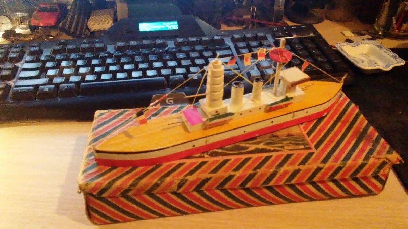 Antique Wooden Putz Toy boat Pagoda Mast Battleship 10