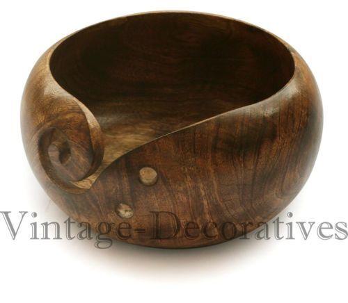 Yarn Bowl HandMade Mango Wooden Yarn Bowl Protector Holder Storage