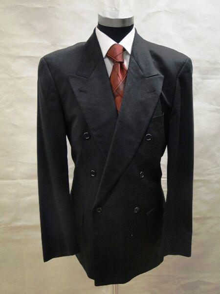 Hugo Boss Sakko Al Capone Zweireiher Dunkelblau Unifarben Schurwolle Gr. 98
