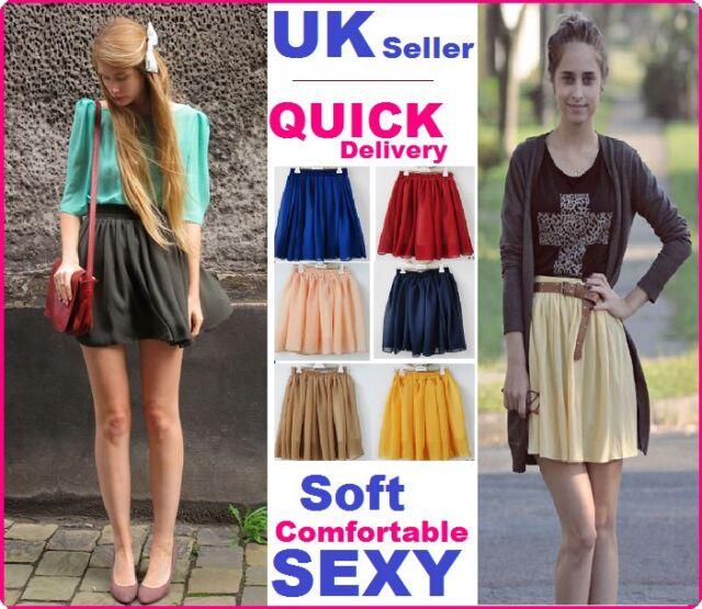 Fashion Retro high waist double layer pleated chiffon Mini Short Skirt Dress #Sc