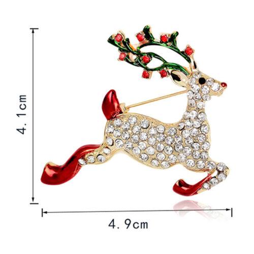 Strass Kristall Weihnachten Hirsch Brosche Pin Brosche Weihnachtsgeschenk XJ