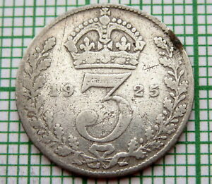 GREAT-BRITAIN-GEORGE-V-1925-THREEPENCE-3-PENCE-SILVER