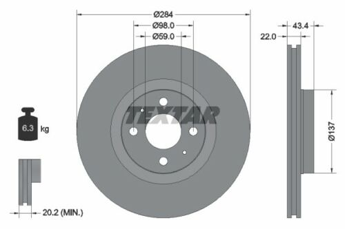 2x Textar Bremsscheibe 92053503 für FIAT LANCIA ABARTH ALFA