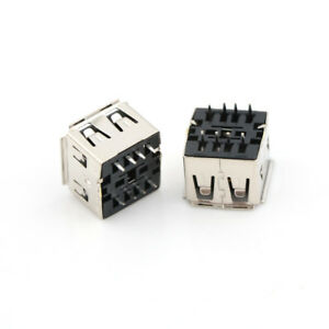 10Pcs Dual Usb Jack 180 Degree Usb Connector Female 8Pin Dip Socket JDUK