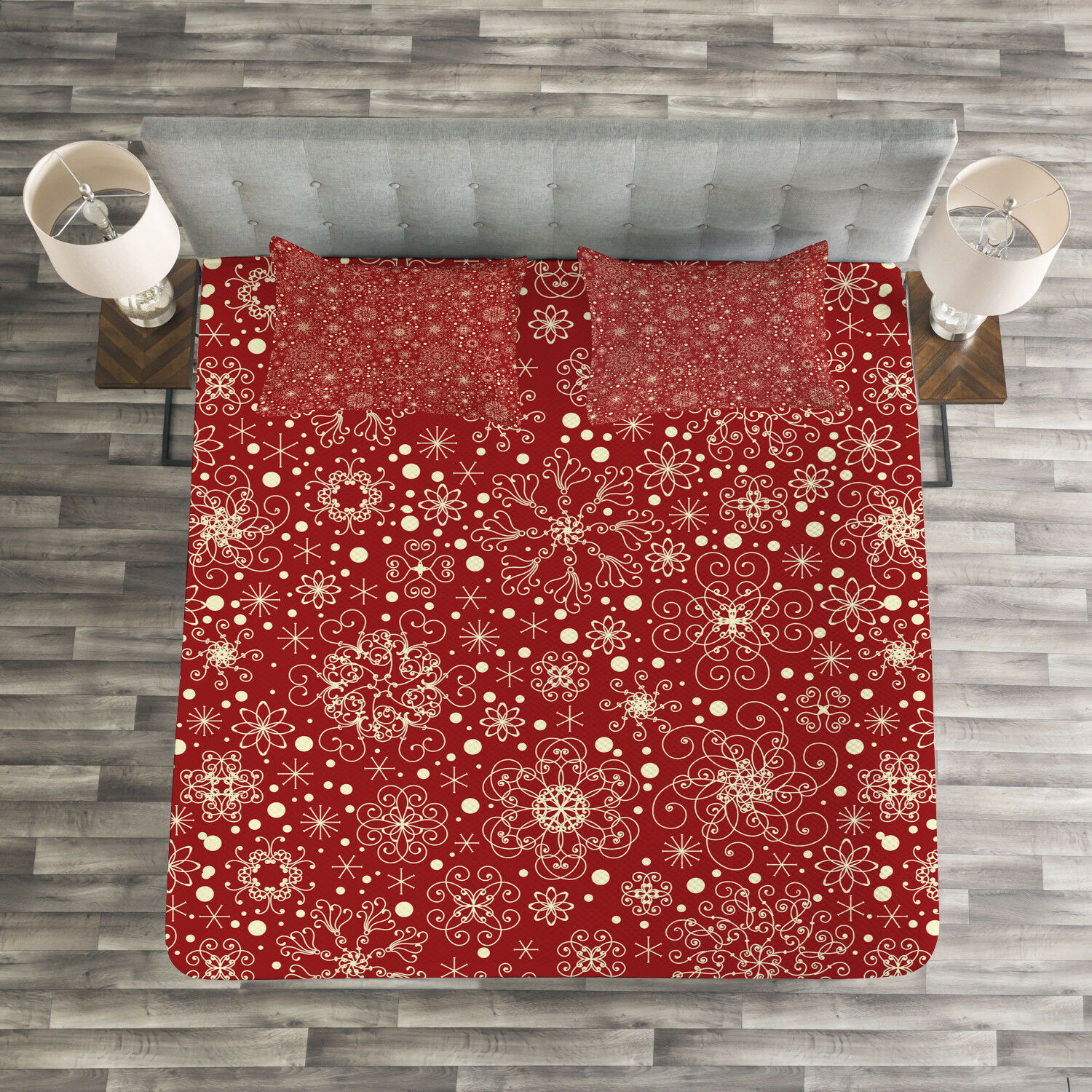 Red Quilted Bedspread & Pillow Shams Set, Filigree Style Snowflakes Print