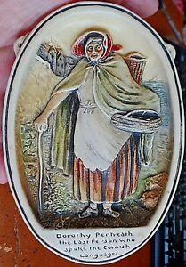 Antique-1921-Osbourne-Ivorex-Wall-Plaque-Dorothy-Pentreath-Last-Cornish-Speaker