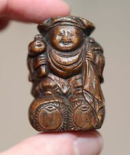 Antique Japanese carved Netsuke of Daikoku, God of good fortune, Meiji 19th Cent