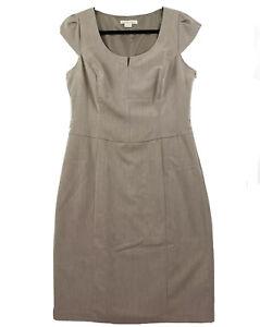 Barkins Basics Size 14 Taupe Beige Cap Sleeve Knee Length Belted Sheath Dress