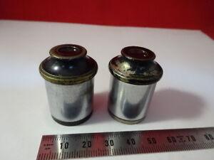 LOT-2-EA-ANTIQUE-BRASS-EYEPIECE-10X-AO-SPENCER-OPTICS-MICROSCOPE-PART-6V-A-14