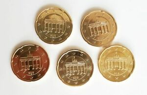 5x-20-Cent-Circulation-Coins-a-D-F-G-J-Germany-2019-Frg