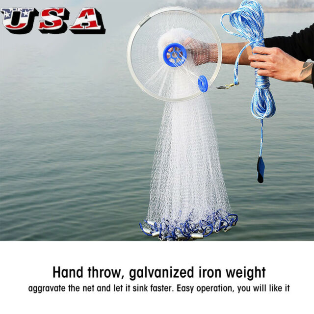 12//16ft Hand Throw Fishing Net Cast Spin Bait Sinker Small Mesh Equipment