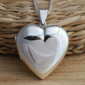 Solid 925 sterling silver heart locket pendant large heavy necklace image is loading solid 925 sterling silver heart locket pendant large mozeypictures Gallery