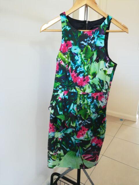 Portmans Size 8 Floral sleeveless pencil dress with peplum detail