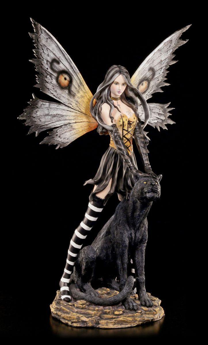 Grande Figura ELFOS CON Negro Panther - Decoración Hadas Estatua fairy