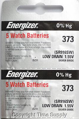 10 pcs 373 Energizer Watch Batteries SR916SW SR916 0% HG