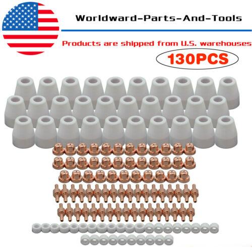130pcs Plasma Cutter Consumable Torch Electrode Tip Nozzle PT31 LG40 Accessories