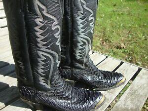 f3d3c1465f1 Details about Badass JUSTIN Python Snake Cowboy Boots USA - Size 8 B Women  - USA Made